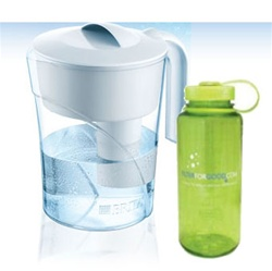 Classic Pour-Through Pitcher 48 oz. wBonus 16 oz. Water Bottle (COX35391)