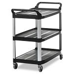 Open Sided Utility Cart 3-Shelf 40-58w x 20d x 37-1316h Black (RCP409100BLA)
