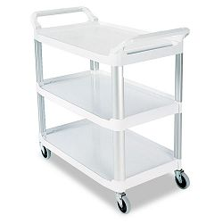 Open Sided Utility Cart 3-Shelf 40-58w x 20d x 37-1316h Off-White (RCP409100CM)