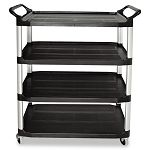 Open Sided Utility Cart 4-Shelf 40-58w x 20d x 51h Black (RCP409600BLA)