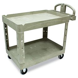 Heavy-Duty Utility Cart 2-Shelf 25-78w x 45-14d x 33-14h Beige (RCP452088BG)
