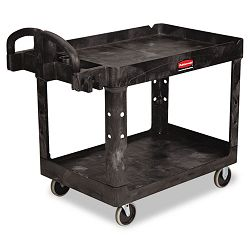 Heavy-Duty Utility Cart 2-Shelf 26w x 45d x 33h Black (RCP452088BK)