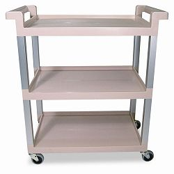 Service Cart wBrushed Aluminum Upright 3-Shelf 16-14w x 31-12d x 36h Beige (RCP9T6571BG)