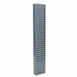 Fixed-Size 25-Pocket Time Card Rack Seven Inch Pocket Textured Steel Gray (BDY8001)