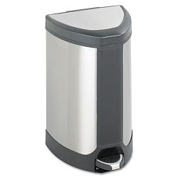 Step-On Waste Receptacle Triangular Stainless Steel 7 gal ChromeBlack (SAF9686SS)