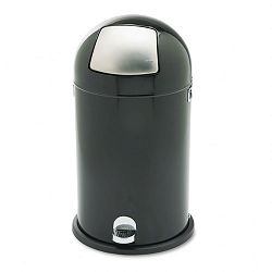 Step-On Dome Receptacle Round Steel 12 gal BlackChrome (SAF9721BL)