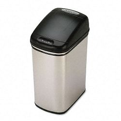 Kazaam Motion-Activated Receptacle Rectangular 8.4 gal Stainless SteelBlack (SAF9761SS)