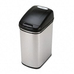 Kazaam Motion-Activated Receptacle Rectangular 11.5 gal Stainless SteelBlack (SAF9762SS)