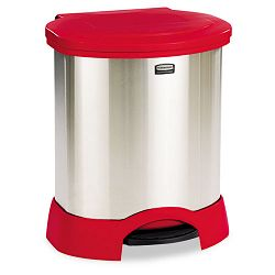Step-On Container Oval Stainless Steel 23 gal Red (RCP614687RD)