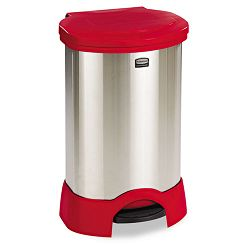 Step-On Container Oval Stainless Steel 30 gal Red (RCP614787RD)