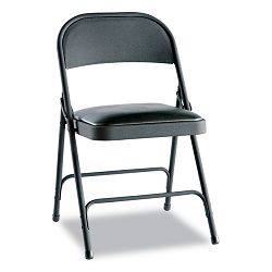 Steel Folding Chair wPadded Seat Graphite 4Carton (ALEFC94VY10B)