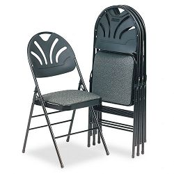 Fabric Padded SeatMolded-Back Folding Chair Kinnear Black 4Carton (CSC36875KNB4)