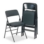 Fabric Padded SeatBack Folding Chair Cavallaro BlackBlack Frame (CSC36885CVB4)