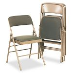 Fabric Padded SeatBack Folding Chair Cavallaro Taupe (CSC36885CVT4)
