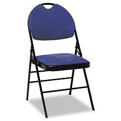 XL Series Fabric Padded Folding Chairs Navy FabricBlack Frame 4Carton (CSC36978NVB4)