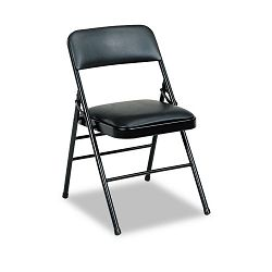 Deluxe Vinyl Padded Series Folding Chairs Black Vinyl and Frame 4Carton (CSC608830054)