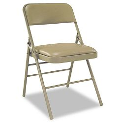 Deluxe Vinyl Padded Seat & Back Folding Chairs Taupe 4Carton (CSC60883TAP4)