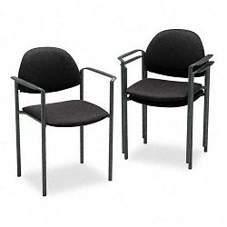 Comet Stacking Arm Chairs Black Olefin Fabric 3Carton (GLB2171BKIM06)