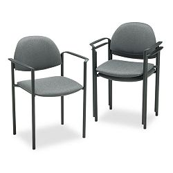 Comet Stacking Arm Chairs Gray Olefin Fabric 3Carton (GLB2171BKIM11)