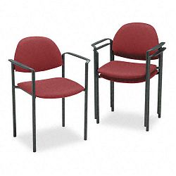 Comet Stacking Arm Chairs Burgundy Olefin Fabric 3Carton (GLB2171BKIM52)