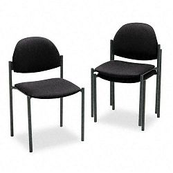 Comet Armless Stacking Chairs Black Olefin Fabric 3Carton (GLB2172BKIM06)