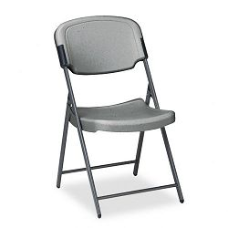 Rough N Ready Resin Folding Chair Steel Frame Charcoal (ICE64007)