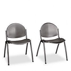 Echo Stack Chairs Perforated SeatBack Powder Coated Steel Black 2Carton (SAF4186BL)