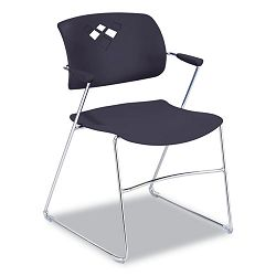 Veer Series Stacking Chair wArms Sled Base BlackChrome 4Carton (SAF4286BL)