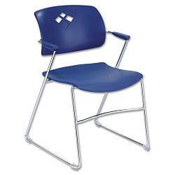 Veer Series Stacking Chair wArms Sled Base BlueChrome 4Carton (SAF4286BU)