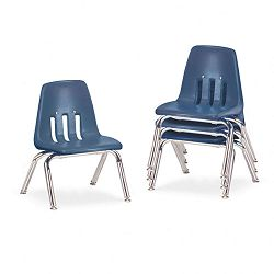 "9000 Series Classroom Chairs 10"" Seat Height NavyChrome 4Carton (VIR901051)"