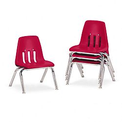 "9000 Series Classroom Chairs 10"" Seat Height RedChrome 4Carton (VIR901070)"