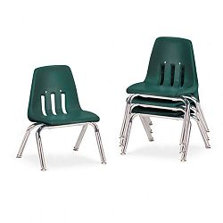 "9000 Series Classroom Chairs 10"" Seat Height Forest GreenChrome 4Carton (VIR901075)"