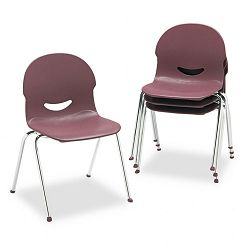 "IQ Series Stack Chair 17-12"" Seat Height WineChrome 4Carton (VIR26451750)"