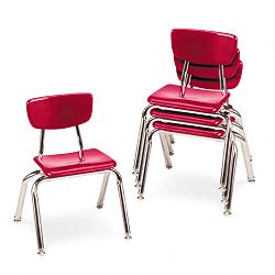 "3000 Series Classroom Chairs 12"" Seat Height Red 4Carton (VIR301270)"