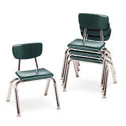 "3000 Series Classroom Chairs 12"" Seat Height Forest Green 4Carton (VIR301275)"