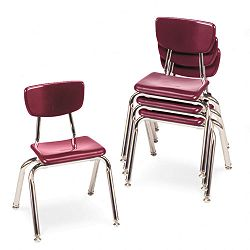 "3000 Series Classroom Chairs 14"" Seat Height Wine 4Carton (VIR301450)"