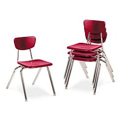 "3000 Series Classroom Chairs 16"" Seat Height Red 4Carton (VIR301670)"