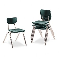 "3000 Series Classroom Chairs 16"" Seat Height Forest Green 4Carton (VIR301675)"