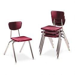 "3000 Series Classroom Chairs 18"" Seat Height Wine 4Carton (VIR301850)"