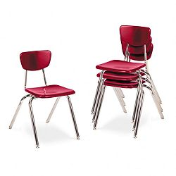"3000 Series Classroom Chairs 18"" Seat Height Red 4Carton (VIR301870)"
