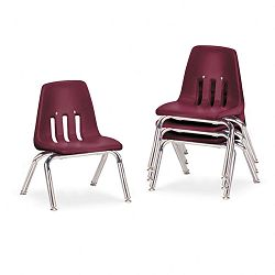"9000 Series Classroom Chairs 10"" Seat Height WineChrome 4Carton (VIR901050)"