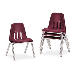 "9000 Series Classroom Chairs 12"" Seat Height WineChrome 4Carton (VIR901250)"
