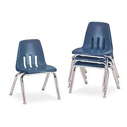 "9000 Series Classroom Chairs 12"" Seat Height NavyChrome 4Carton (VIR901251)"