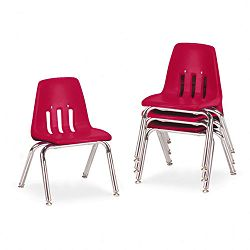 "9000 Series Classroom Chairs 12"" Seat Height RedChrome 4Carton (VIR901270)"