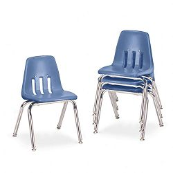"9000 Series Classroom Chairs 14"" Seat Height BlueberryChrome 4Carton (VIR901440)"