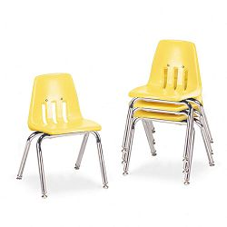 "9000 Series Classroom Chairs 14"" Seat Height SquashChrome 4Carton (VIR901447)"