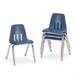 "9000 Series Classroom Chairs 14"" Seat Height NavyChrome 4Carton (VIR901451)"