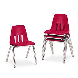 "9000 Series Classroom Chairs 14"" Seat Height RedChrome 4Carton (VIR901470)"