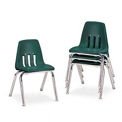 "9000 Series Classroom Chairs 14"" Seat Height Forest GreenChrome 4Carton (VIR901475)"