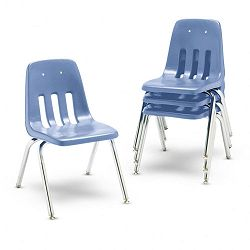 "9000 Series Classroom Chairs 16"" Seat Height BlueberryChrome 4Carton (VIR901640)"